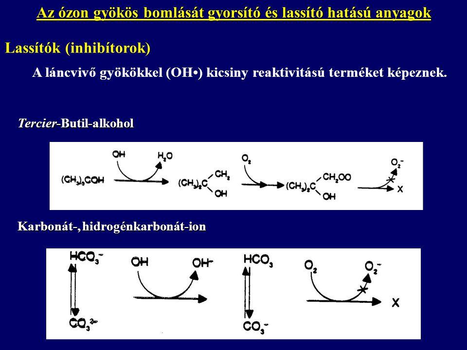 Az ózon gyökös bomlását gyorsító és lassító hatású anyagok Lassítók (inhibítorok) Tercier-Butil-alkohol Karbonát-, hidrogénkarbonát-ion A láncvivő gyökökkel (OH) kicsiny reaktivitású terméket képeznek.