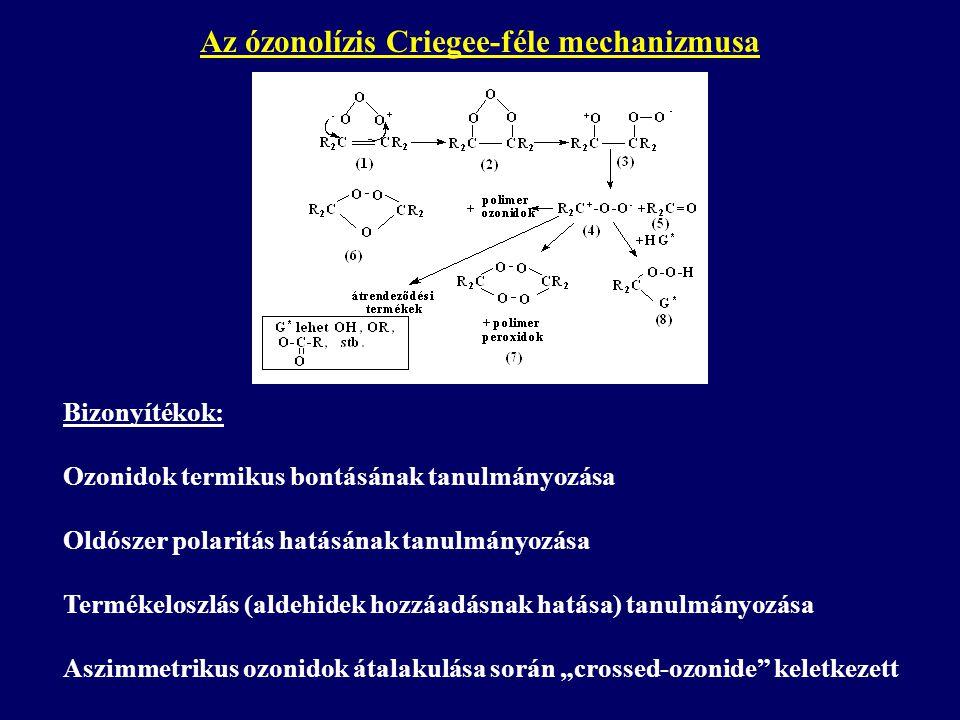 """Az ózonolízis Criegee-féle mechanizmusa Bizonyítékok: Ozonidok termikus bontásának tanulmányozása Oldószer polaritás hatásának tanulmányozása Termékeloszlás (aldehidek hozzáadásnak hatása) tanulmányozása Aszimmetrikus ozonidok átalakulása során """"crossed-ozonide keletkezett"""