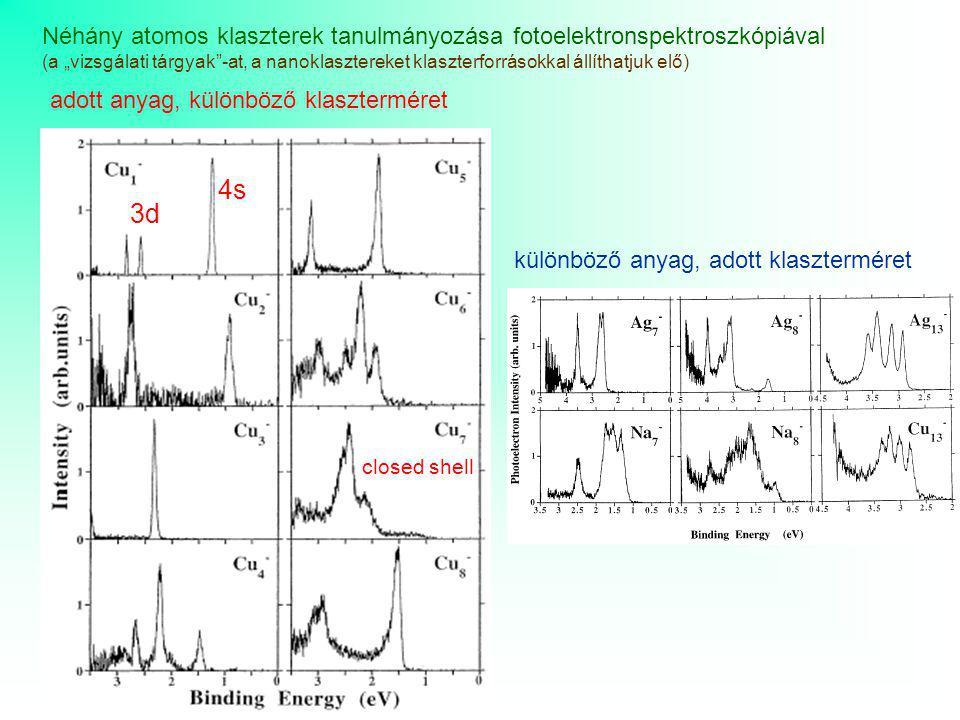 """Néhány atomos klaszterek tanulmányozása fotoelektronspektroszkópiával (a """"vizsgálati tárgyak""""-at, a nanoklasztereket klaszterforrásokkal állíthatjuk e"""