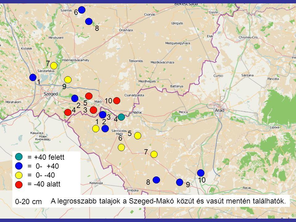 6 8 3 7 5 1 4 9 2 10 7 2 4 5 6 9 8 3 1 = +40 felett = 0- +40 = 0- -40 = -40 alatt 0-20 cm A legrosszabb talajok a Szeged-Makó közút és vasút mentén találhatók.