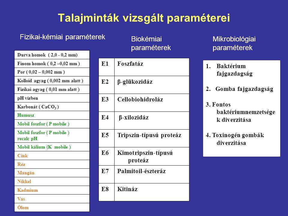 Talajminták vizsgált paraméterei Durva homok ( 2,0 - 0,2 mm) Finom homok ( 0,2 –0,02 mm ) Por ( 0,02 – 0,002 mm ) Kolloid agyag ( 0,002 mm alatt ) Fizikai agyag ( 0,01 mm alatt ) pH vízben Karbonát ( CaCO 3 ) Humusz Mobil foszfor ( P mobile ) recalc pH Mobil kálium (K mobile ) Cink Réz Mangán Nikkel Kadmium Vas Ólom Fizikai-kémiai paraméterek Biokémiai paraméterek Mikrobiológiai paraméterek E1Foszfatáz E2β-glükozidáz E3Cellobiohidroláz E4 β-xilozidáz E5Tripszin-típusú proteáz E6Kimotripszin-típusú proteáz E7Palmitoil-észteráz E8Kitináz 1.Baktérium fajgazdagság 2.