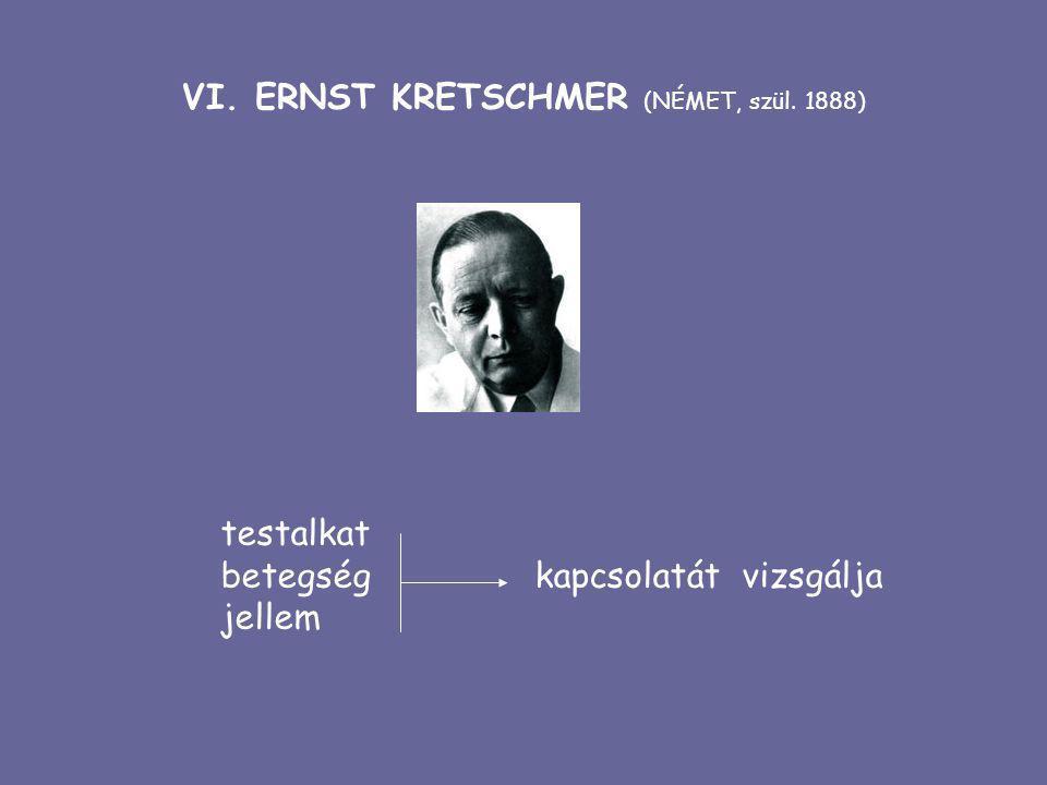 VI. ERNST KRETSCHMER (NÉMET, szül. 1888) testalkat betegség kapcsolatát vizsgálja jellem
