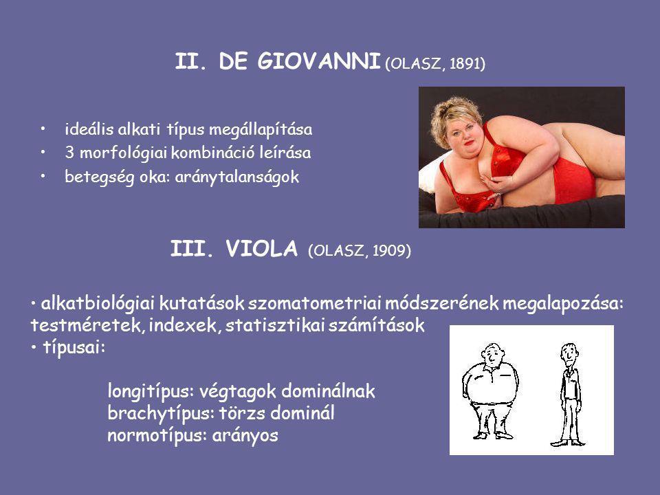II. DE GIOVANNI (OLASZ, 1891) ideális alkati típus megállapítása 3 morfológiai kombináció leírása betegség oka: aránytalanságok III. VIOLA (OLASZ, 190