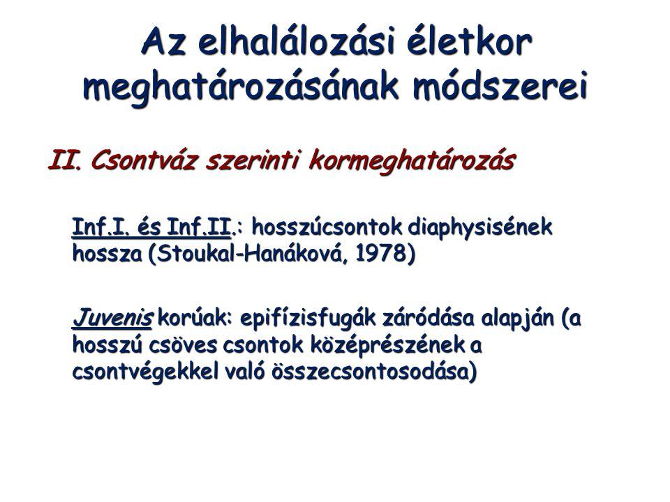 Az elhalálozási életkor meghatározásának módszerei II. Csontváz szerinti kormeghatározás Inf.I. és Inf.II.: hosszúcsontok diaphysisének hossza (Stouka