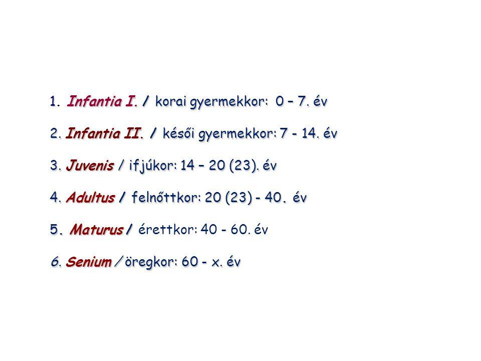 1Infantia I./ korai gyermekkor: 0 – 7. év 1. Infantia I. / korai gyermekkor: 0 – 7. év 2. Infantia II. / késői gyermekkor: 7 - 14. év 3. Juvenis / ifj