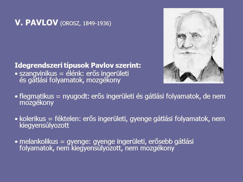 Idegrendszeri típusok Pavlov szerint: szangvinikus = élénk: erős ingerületi és gátlási folyamatok, mozgékony flegmatikus = nyugodt: erős ingerületi és
