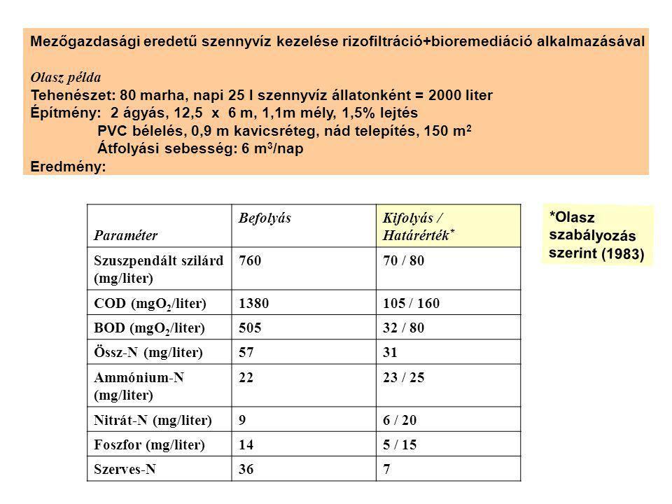 Mezőgazdasági eredetű szennyvíz kezelése rizofiltráció+bioremediáció alkalmazásával Olasz példa Tehenészet: 80 marha, napi 25 l szennyvíz állatonként = 2000 liter Építmény: 2 ágyás, 12,5 x 6 m, 1,1m mély, 1,5% lejtés PVC bélelés, 0,9 m kavicsréteg, nád telepítés, 150 m 2 Átfolyási sebesség: 6 m 3 /nap Eredmény: Paraméter BefolyásKifolyás / Határérték * Szuszpendált szilárd (mg/liter) 76070 / 80 COD (mgO 2 /liter)1380105 / 160 BOD (mgO 2 /liter)50532 / 80 Össz-N (mg/liter)5731 Ammónium-N (mg/liter) 2223 / 25 Nitrát-N (mg/liter)96 / 20 Foszfor (mg/liter)145 / 15 Szerves-N367 *Olasz szabályozás szerint (1983)