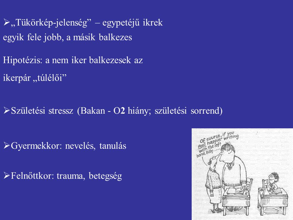 """ Születési stressz (Bakan - O2 hiány; születési sorrend)  Gyermekkor: nevelés, tanulás  Felnőttkor: trauma, betegség  """"Tükörkép-jelenség"""" – egypet"""