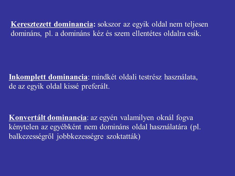 Keresztezett dominancia: sokszor az egyik oldal nem teljesen domináns, pl. a domináns kéz és szem ellentétes oldalra esik. Inkomplett dominancia: mind