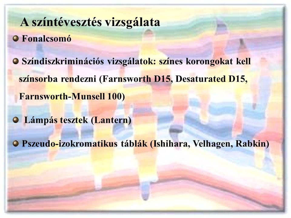 A színtévesztés vizsgálata Fonalcsomó Színdiszkriminációs vizsgálatok: színes korongokat kell színsorba rendezni (Farnsworth D15, Desaturated D15, Far