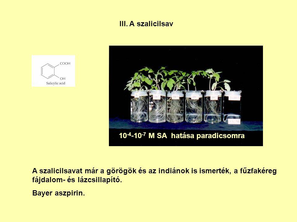 III. A szalicilsav A szalicilsavat már a görögök és az indiánok is ismerték, a fűzfakéreg fájdalom- és lázcsillapító. Bayer aszpirin. 10 -4 -10 -7 M S