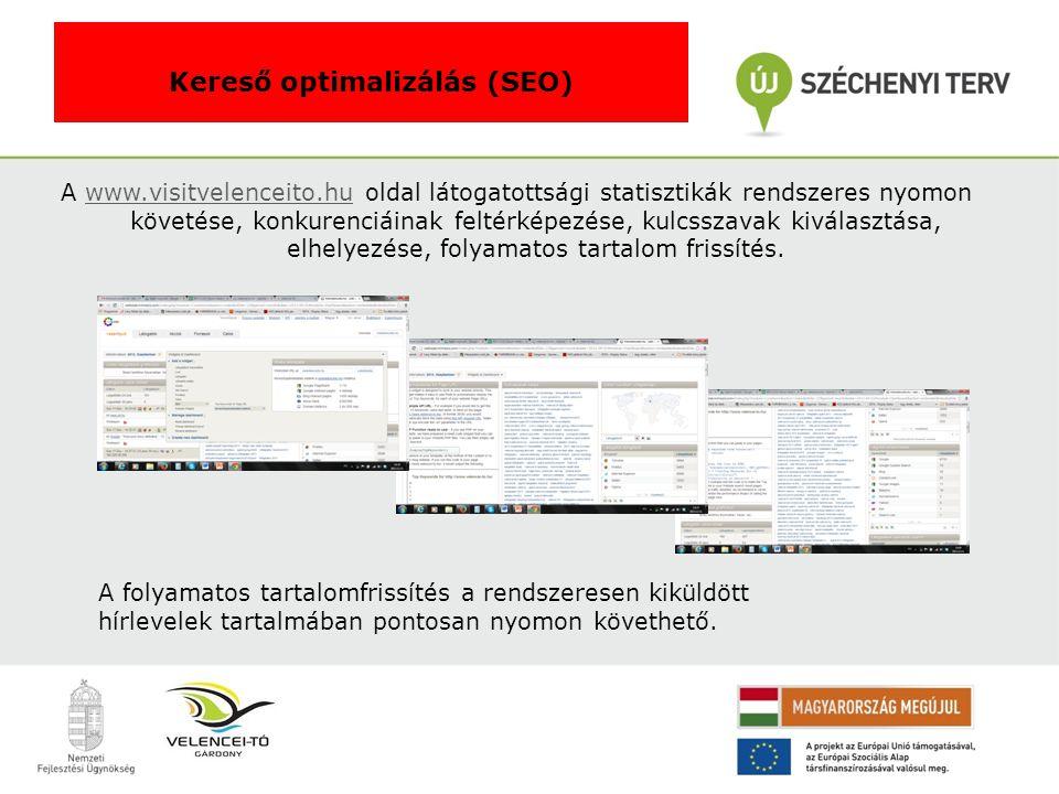 A www.visitvelenceito.hu oldal látogatottsági statisztikák rendszeres nyomon követése, konkurenciáinak feltérképezése, kulcsszavak kiválasztása, elhelyezése, folyamatos tartalom frissítés.www.visitvelenceito.hu Kereső optimalizálás (SEO) A folyamatos tartalomfrissítés a rendszeresen kiküldött hírlevelek tartalmában pontosan nyomon követhető.