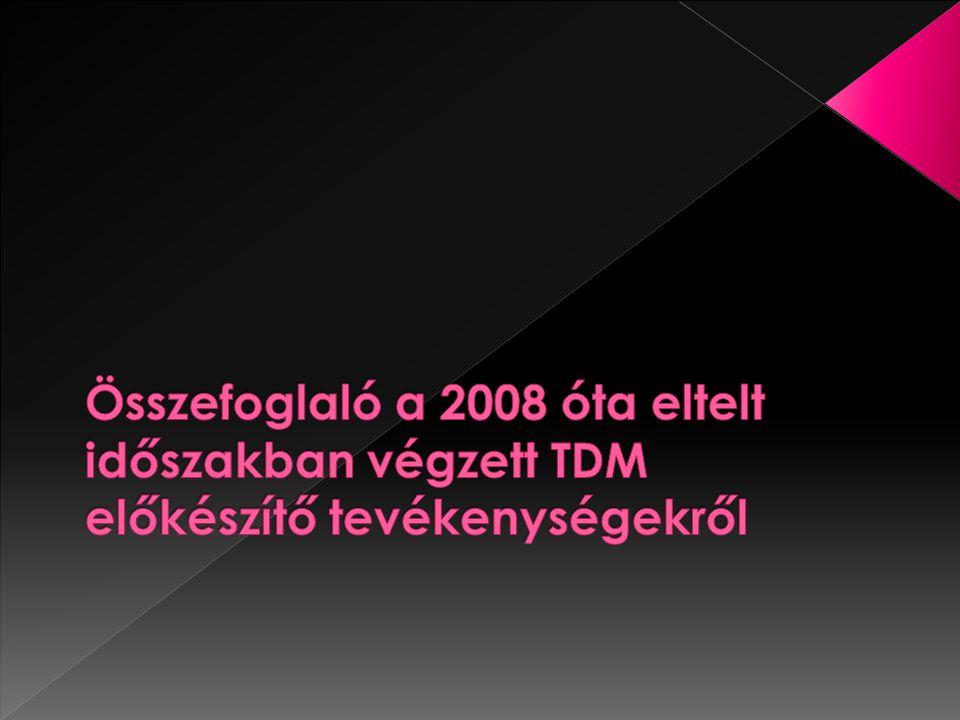 2008.Ápriliselső TDM Fórum 2008. Nyáron megalakult TDM előkészítő munkacsoport 2008.