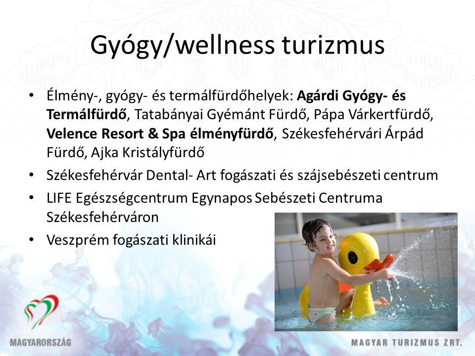 Gyógy/wellness turizmus Élmény-, gyógy- és termálfürdőhelyek: Agárdi Gyógy- és Termálfürdő, Tatabányai Gyémánt Fürdő, Pápa Várkertfürdő, Velence Resor