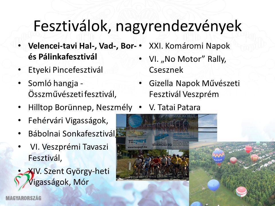Fesztiválok, nagyrendezvények Velencei-tavi Hal-, Vad-, Bor- és Pálinkafesztivál Etyeki Pincefesztivál Somló hangja - Összművészeti fesztivál, Hilltop
