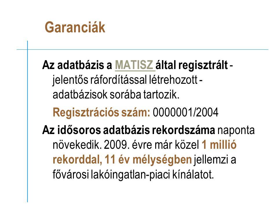Garanciák Az adatbázis a MATISZ által regisztrált - jelentős ráfordítással létrehozott - adatbázisok sorába tartozik.MATISZ Regisztrációs szám: 0000001/2004 Az idősoros adatbázis rekordszáma naponta növekedik.