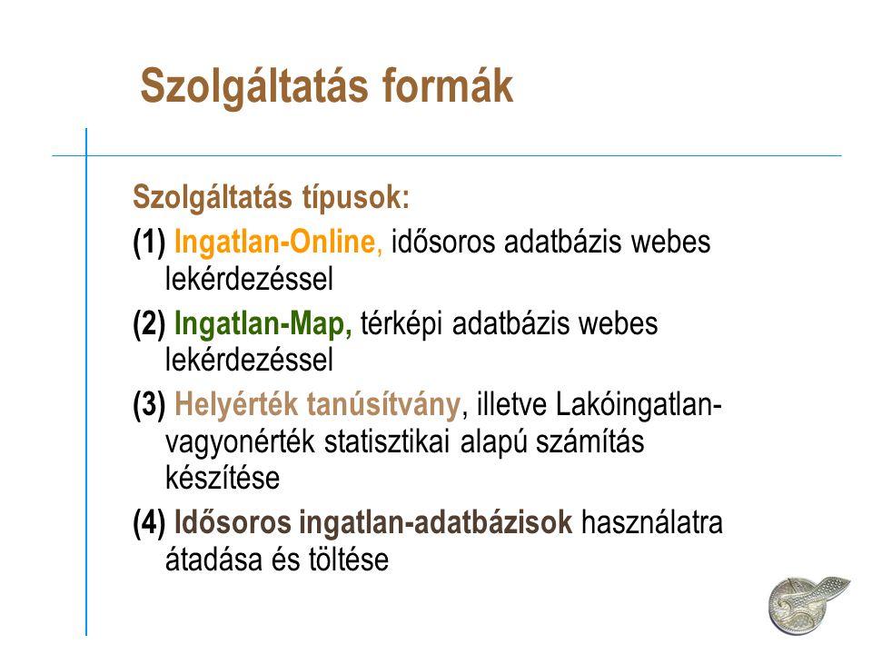 Szolgáltatás formák Szolgáltatás típusok: (1) Ingatlan-Online, idősoros adatbázis webes lekérdezéssel (2) Ingatlan-Map, térképi adatbázis webes lekérdezéssel (3) Helyérték tanúsítvány, illetve Lakóingatlan- vagyonérték statisztikai alapú számítás készítése (4) Idősoros ingatlan-adatbázisok használatra átadása és töltése