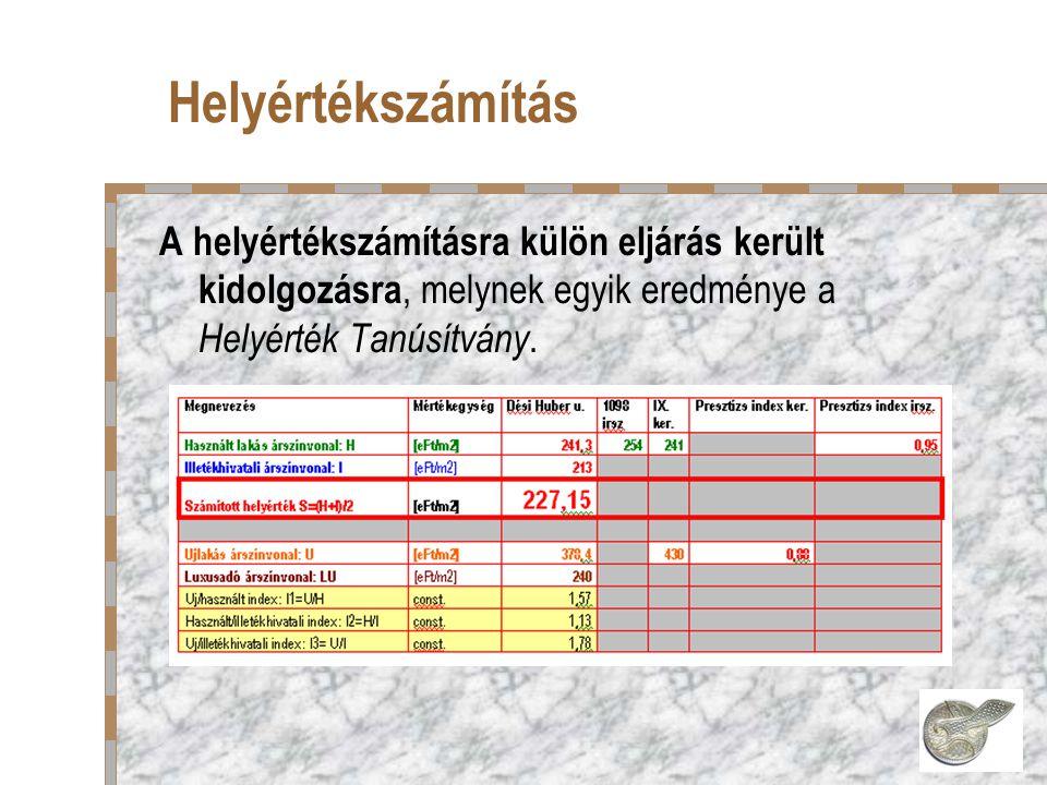 Helyértékszámítás A helyértékszámításra külön eljárás került kidolgozásra, melynek egyik eredménye a Helyérték Tanúsítvány.