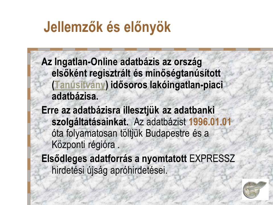Jellemzők és előnyök Az Ingatlan-Online adatbázis az ország elsőként regisztrált és minőségtanúsított (Tanúsítvány) idősoros lakóingatlan-piaci adatbázisa.Tanúsítvány Erre az adatbázisra illesztjük az adatbanki szolgáltatásainkat.