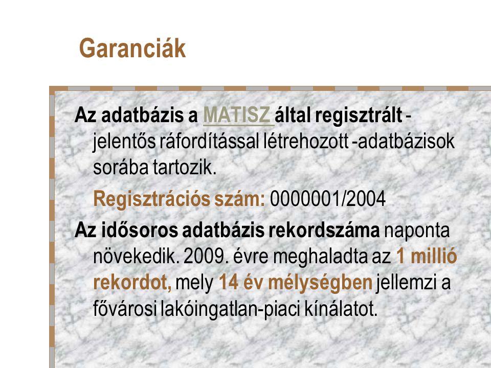 Garanciák Az adatbázis a MATISZ által regisztrált - jelentős ráfordítással létrehozott -adatbázisok sorába tartozik.MATISZ Regisztrációs szám: 0000001/2004 Az idősoros adatbázis rekordszáma naponta növekedik.