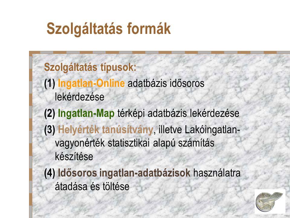 Szolgáltatás formák Szolgáltatás típusok: (1) Ingatlan-Online adatbázis idősoros lekérdezése (2) Ingatlan-Map térképi adatbázis lekérdezése (3) Helyérték tanúsítvány, illetve Lakóingatlan- vagyonérték statisztikai alapú számítás készítése (4) Idősoros ingatlan-adatbázisok használatra átadása és töltése