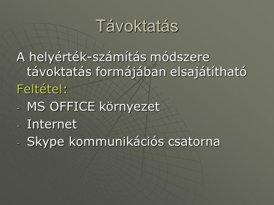 Távoktatás A helyérték-számítás módszere távoktatás formájában elsajátítható Feltétel: - MS OFFICE környezet - Internet - Skype kommunikációs csatorna