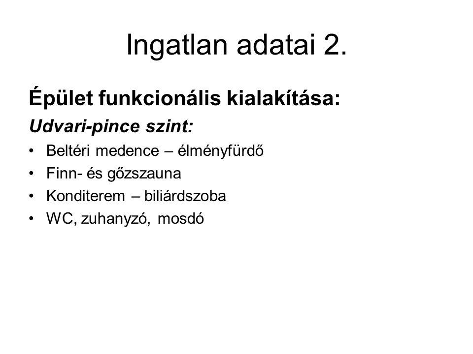 Ingatlan adatai 2. Épület funkcionális kialakítása: Udvari-pince szint: Beltéri medence – élményfürdő Finn- és gőzszauna Konditerem – biliárdszoba WC,