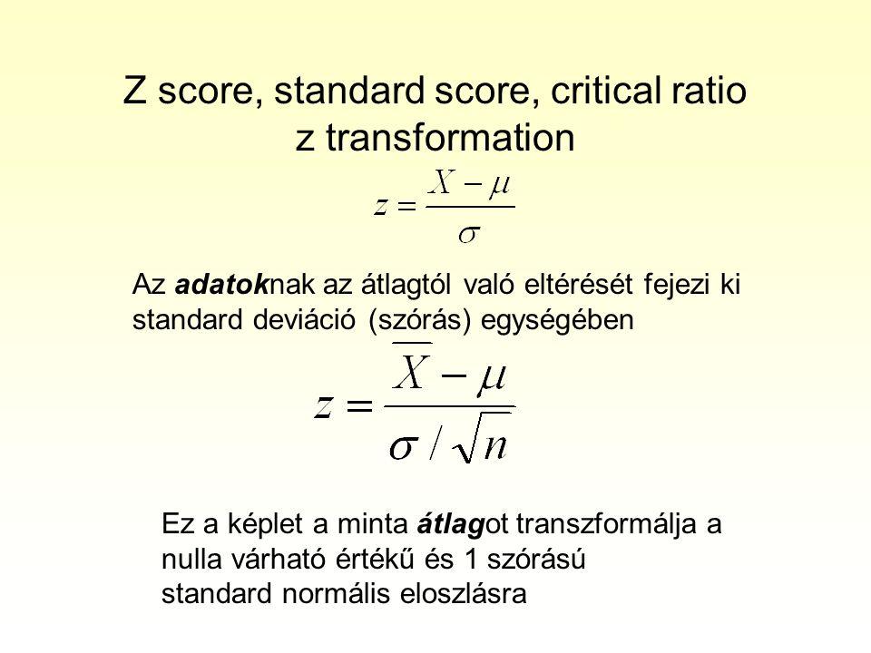 Z score, standard score, critical ratio z transformation Az adatoknak az átlagtól való eltérését fejezi ki standard deviáció (szórás) egységében Ez a