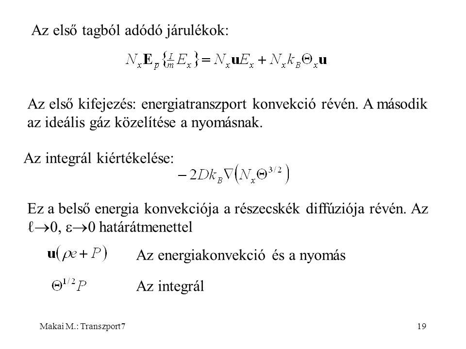 Makai M.: Transzport719 Az első tagból adódó járulékok: Az első kifejezés: energiatranszport konvekció révén.