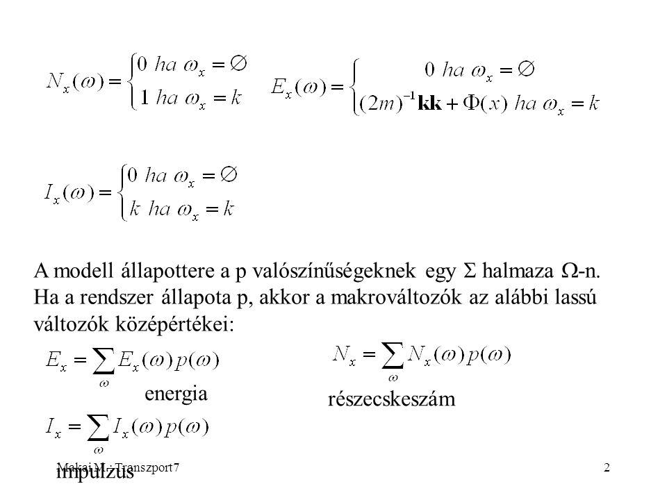 Makai M.: Transzport73 A model információs sokasága  -nak az alábbi M részhalmaza: Amennyiben az {E x }, {N x }, {I x } középértékek halmaza adott, M-ben csak egy állapot van, amely visszaadja ezeket a közép- értékeket.