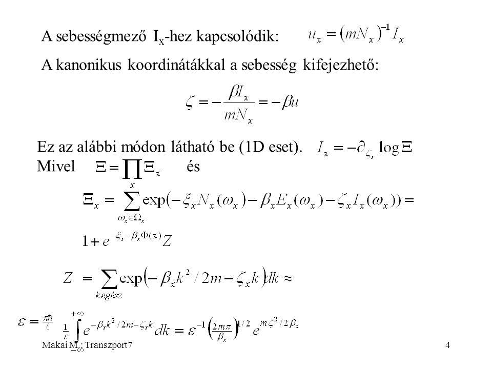 Makai M.: Transzport715 Végül az X x várhatóértékre vonatkozó időbeli változást leíró egyenlet: Ha ezt összevetjük a Boltzmann-egyenletből kapott hidrodinamika egyenlettel, a különbség a jobboldali tagban van.