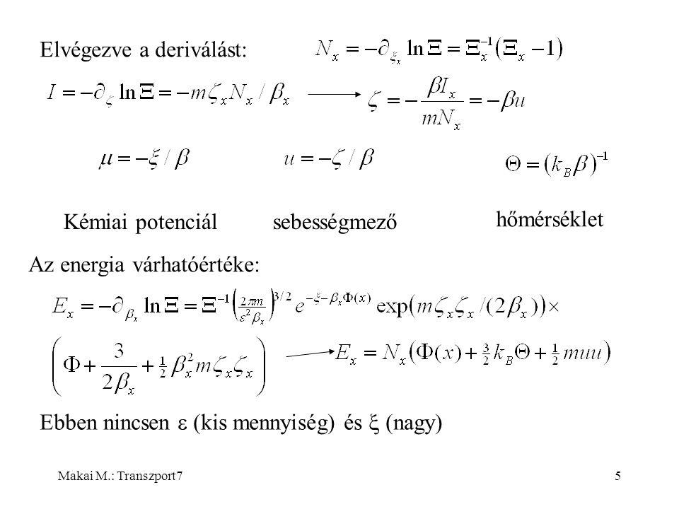 Makai M.: Transzport76 Entrópia és nyomás egyensúlyban Termosztatika szerint nyomás ebből Ez a nyomás nem hidrodinamikai nyomás, termodinamikai nyomás.