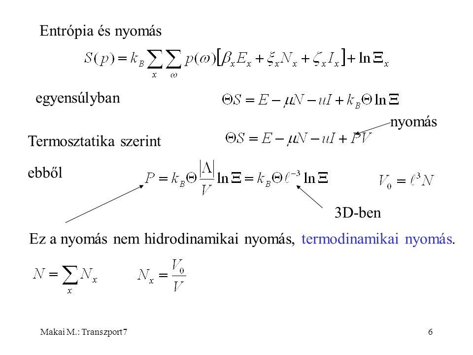 Makai M.: Transzport77 Ez már egy állapotegyenlet, amit a mikroszkopikus modellből származtattunk.