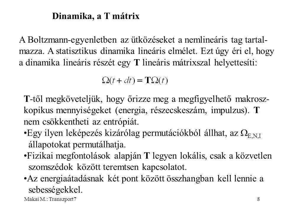 Makai M.: Transzport78 Dinamika, a T mátrix A Boltzmann-egyenletben az ütközéseket a nemlineáris tag tartal- mazza.