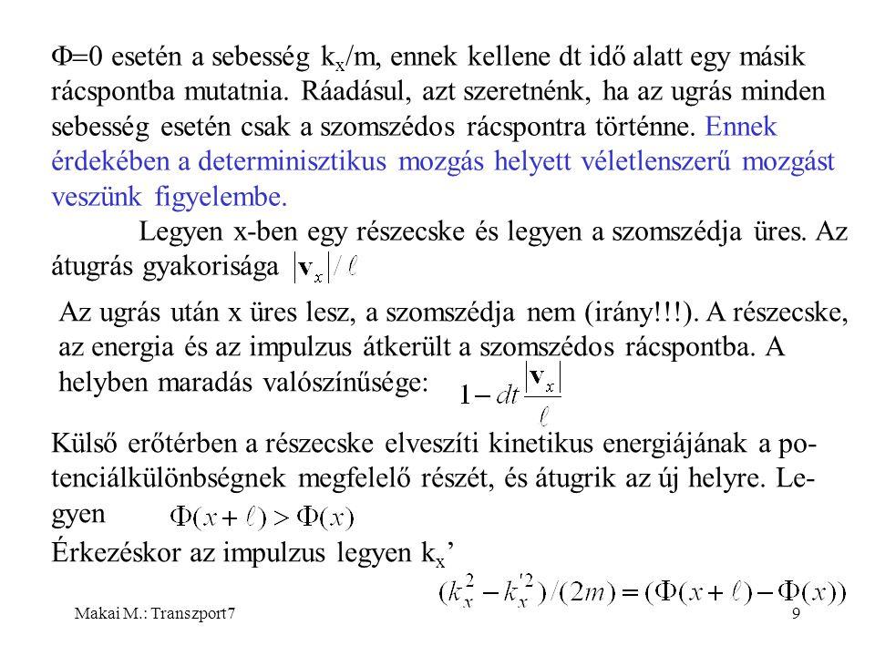 Makai M.: Transzport710 Az ugrás gyakoriságát a kezdeti és végső impulzusok átlagából határozzuk meg: Ezzel biztosítottuk, hogy megmarad az össztömeg és az összenergia, a momentumtranszfer pedig teljesíti az alábbi összefüggést: Akkor is csak a szomszéd üres helyre ugrik, ha az energiája meg- engedné a nagyobb ugrást.