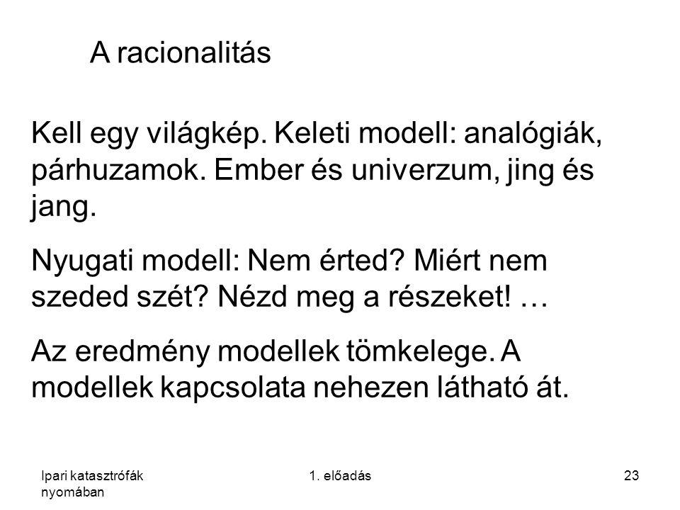 Ipari katasztrófák nyomában 1. előadás23 A racionalitás Kell egy világkép. Keleti modell: analógiák, párhuzamok. Ember és univerzum, jing és jang. Nyu