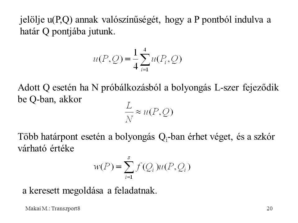 Makai M.: Transzport820 jelölje u(P,Q) annak valószínűségét, hogy a P pontból indulva a határ Q pontjába jutunk.