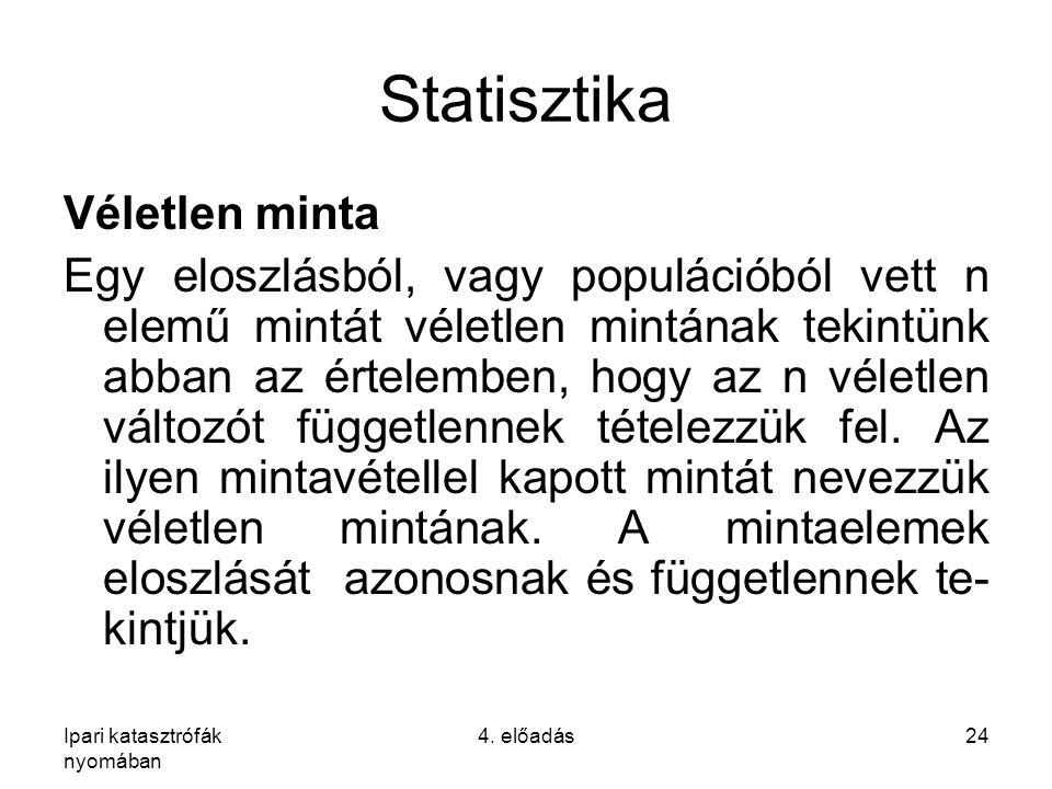Ipari katasztrófák nyomában 4. előadás24 Statisztika Véletlen minta Egy eloszlásból, vagy populációból vett n elemű mintát véletlen mintának tekintünk