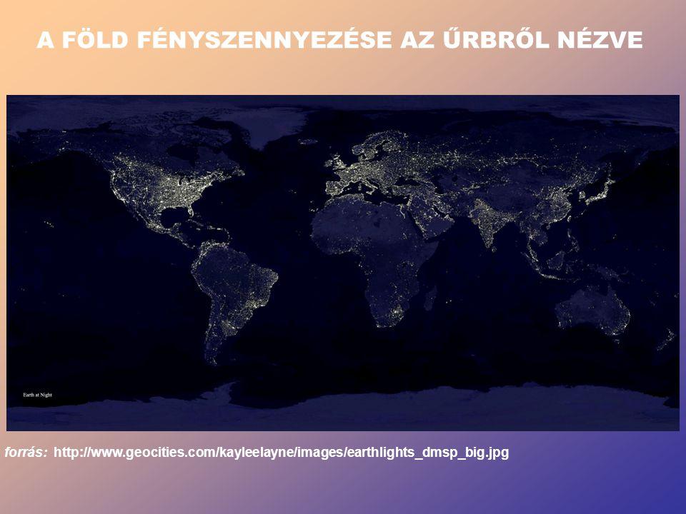 A FÖLD FÉNYSZENNYEZÉSE AZ ŰRBRŐL NÉZVE forrás: http://www.geocities.com/kayleelayne/images/earthlights_dmsp_big.jpg