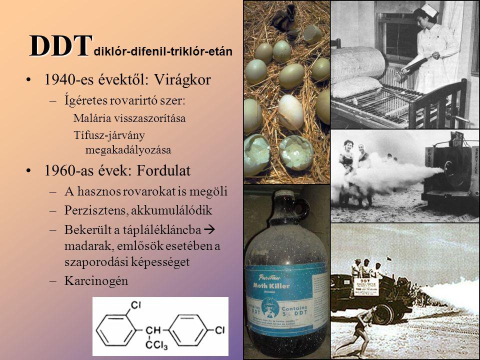 DDT DDT diklór-difenil-triklór-etán 1940-es évektől: Virágkor –Ígéretes rovarirtó szer: Malária visszaszorítása Tífusz-járvány megakadályozása 1960-as