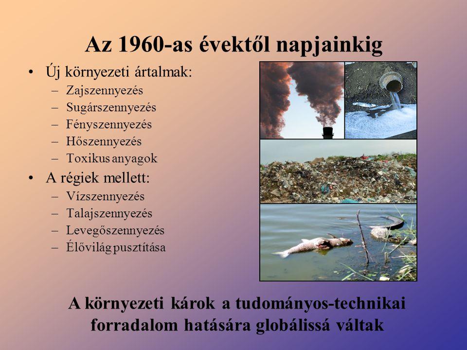 Az 1960-as évektől napjainkig Új környezeti ártalmak: –Zajszennyezés –Sugárszennyezés –Fényszennyezés –Hőszennyezés –Toxikus anyagok A régiek mellett: