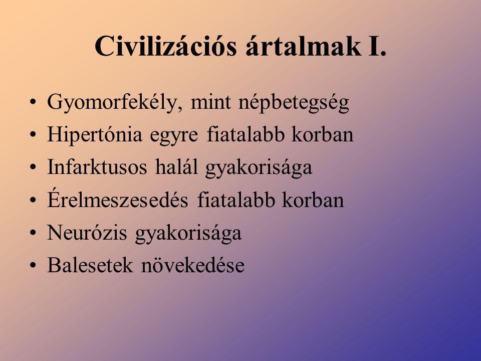 Civilizációs ártalmak I. Gyomorfekély, mint népbetegség Hipertónia egyre fiatalabb korban Infarktusos halál gyakorisága Érelmeszesedés fiatalabb korba