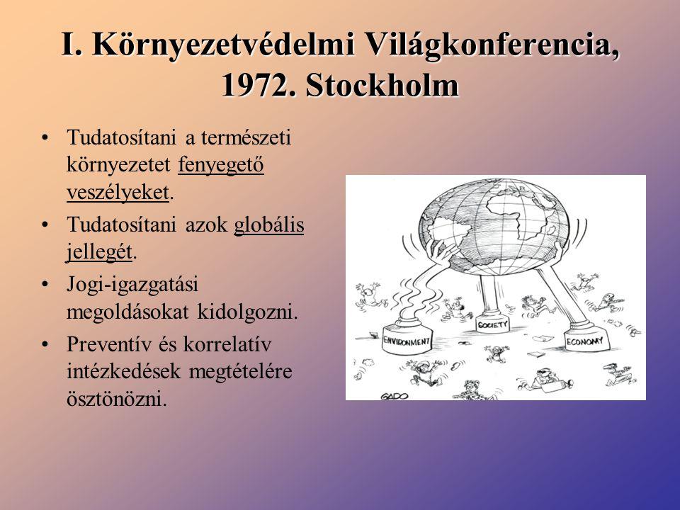 I. Környezetvédelmi Világkonferencia, 1972. Stockholm Tudatosítani a természeti környezetet fenyegető veszélyeket. Tudatosítani azok globális jellegét