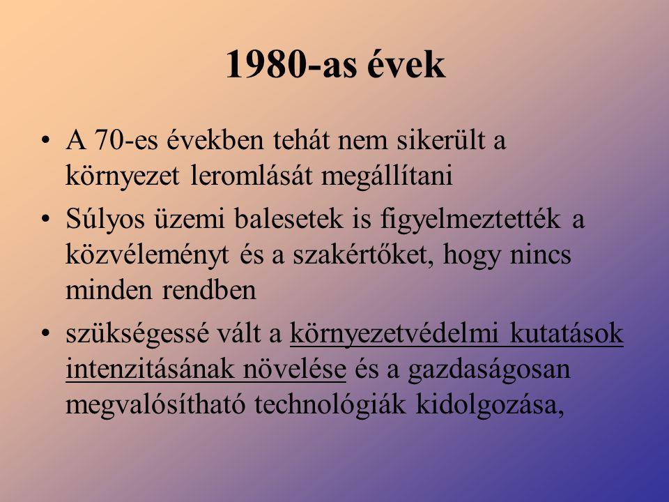 1980-as évek A 70-es években tehát nem sikerült a környezet leromlását megállítani Súlyos üzemi balesetek is figyelmeztették a közvéleményt és a szaké