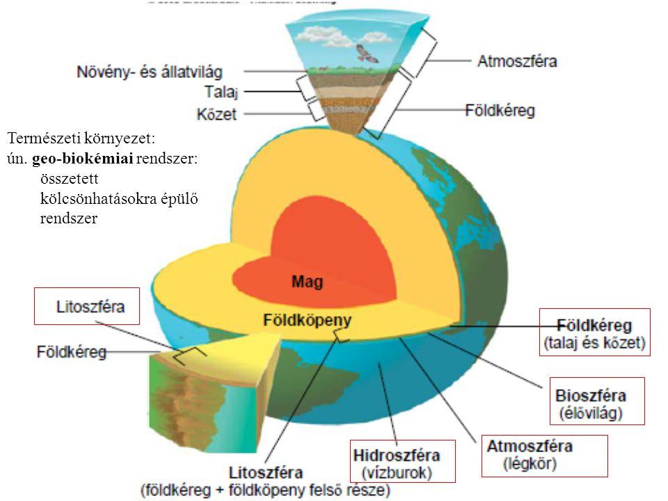 Természeti környezet: ún. geo-biokémiai rendszer: összetett kölcsönhatásokra épülő rendszer