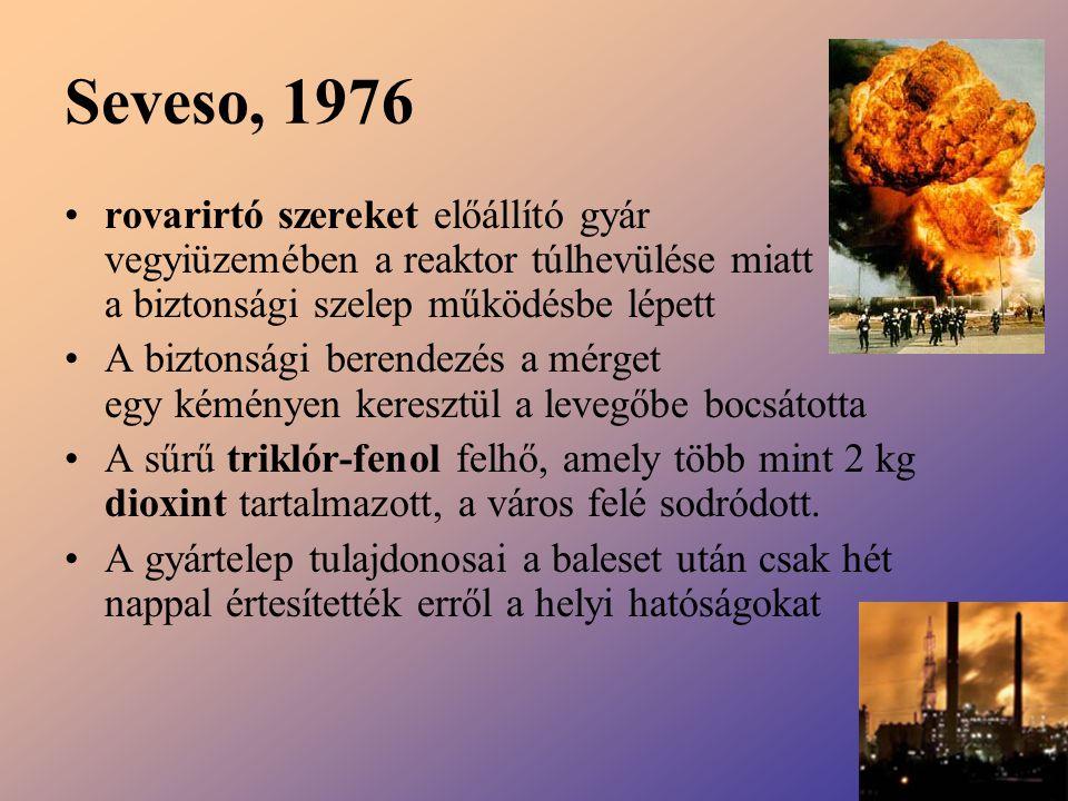 Seveso, 1976 rovarirtó szereket előállító gyár vegyiüzemében a reaktor túlhevülése miatt a biztonsági szelep működésbe lépett A biztonsági berendezés