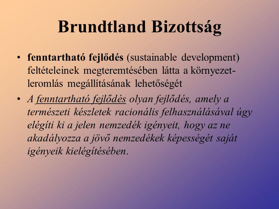 Brundtland Bizottság fenntartható fejlődés (sustainable development) feltételeinek megteremtésében látta a környezet- leromlás megállításának lehetősé