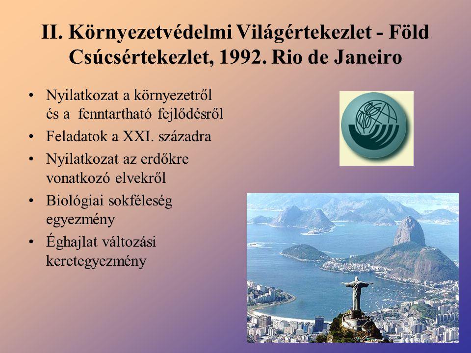II. Környezetvédelmi Világértekezlet - Föld Csúcsértekezlet, 1992. Rio de Janeiro Nyilatkozat a környezetről és a fenntartható fejlődésről Feladatok a