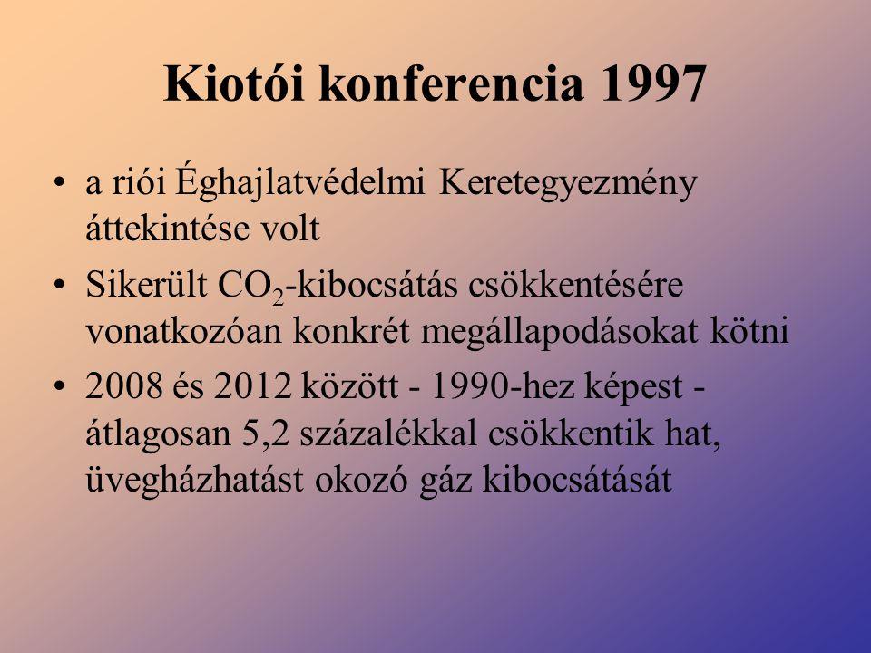 Kiotói konferencia 1997 a riói Éghajlatvédelmi Keretegyezmény áttekintése volt Sikerült CO 2 -kibocsátás csökkentésére vonatkozóan konkrét megállapodá