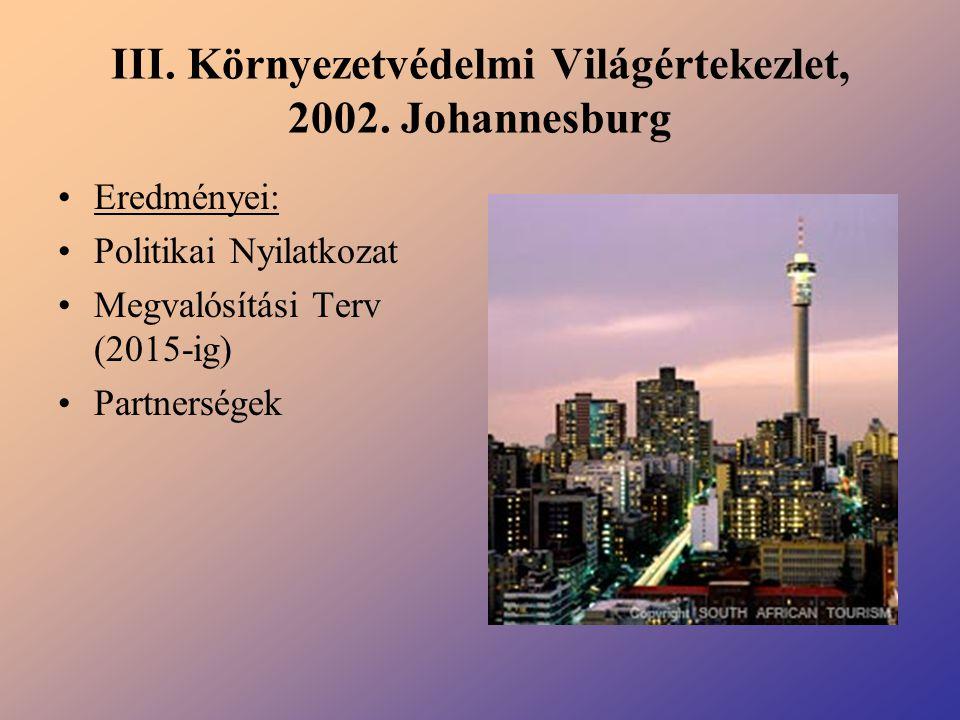 III. Környezetvédelmi Világértekezlet, 2002. Johannesburg Eredményei: Politikai Nyilatkozat Megvalósítási Terv (2015-ig) Partnerségek